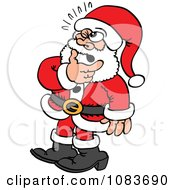Clipart Doubtful Santa Rubbing His Beard Royalty Free Vector Illustration