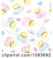Seamless Blue And Pink Butterfly Ring Background