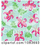 Clipart Seamless Pink Lily And Blue Background Royalty Free Vector Illustration