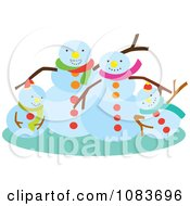 Clipart Snowman Family Waving Royalty Free Vector Illustration