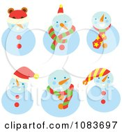 Clipart Snowman With Different Accessories Royalty Free Vector Illustration