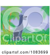 Clipart Happy Black Panther In A Tropical Landscape Royalty Free Illustration
