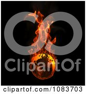 Clipart 3d Flaming Earth On Black - Royalty Free CGi Illustration by chrisroll