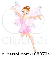 Clipart Cheerful Fairy In A Pink Dress Royalty Free Vector Illustration