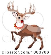 Clipart Rudolph Prancing And Wearing Bells Royalty Free Vector Illustration by Pushkin