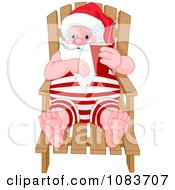 Clipart Santa On A Chaise Lounge During A Beach Vacation Royalty Free Vector Illustration