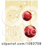 Clipart Gold Sparkle Christmas Background With Red Baubles Royalty Free Vector Illustration