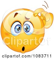 Clipart Confused Emoticon Smiley Scratching His Head Royalty Free Vector Illustration by yayayoyo #COLLC1083711-0157