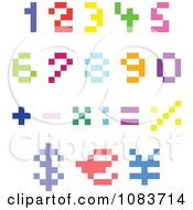 Clipart Colorful Pixel Numbers And Math Symbols Royalty Free Vector Illustration