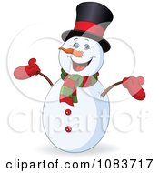 Clipart Happy Snowman Smiling Royalty Free Vector Illustration by yayayoyo
