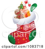 Clipart Stuffers In A Christmas Stocking Royalty Free Vector Illustration