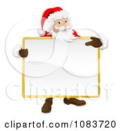 Clipart 3d Santa Holding And Pointing To A Blank Sign Royalty Free Vector Illustration