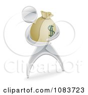 Clipart 3d Silver Man Holding A Money Sack Royalty Free Vector Illustration by AtStockIllustration
