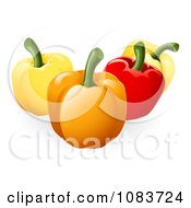 Clipart 3d Yellow Orange And Red Bell Peppers Royalty Free Vector Illustration