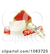Clipart 3d Christmas Note With Crackers And A Bauble Royalty Free Vector Illustration