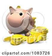 Clipart 3d Piggy Bank With Gold Coins Royalty Free Vector Illustration