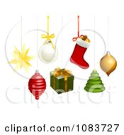 Clipart 3d Hanging Star Spinner Bauble Gift Stocking Tree And Orb Christmas Ornaments Royalty Free Vector Illustration