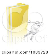 Clipart 3d Secure Files With A Key Ring Royalty Free Vector Illustration