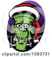 Clipart Frankenstein Wearing A Christmas Santa Hat Royalty Free Vector Illustration by Zooco