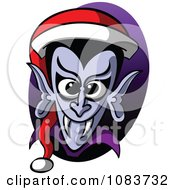 Clipart Vampire Wearing A Christmas Santa Hat Royalty Free Vector Illustration by Zooco