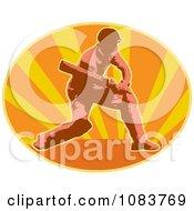 Clipart Cricket Batsman And Orange Ray Oval Royalty Free Vector Illustration