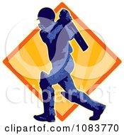 Clipart Blue Cricket Batsman And Orange Ray Diamond Royalty Free Vector Illustration