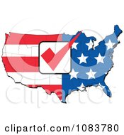 Clipart American Flag Map With A Red Vote Check Mark Royalty Free Vector Illustration