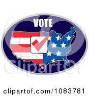 Clipart Vote Over And American Flag Map With A Red Vote Check Mark Royalty Free Vector Illustration
