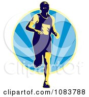 Clipart Runner And Blue Ray Circle Royalty Free Vector Illustration