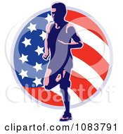 Clipart Runner And American Flag Circle Royalty Free Vector Illustration