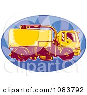 Clipart Orange Street Cleaner Machine And Blue Ray Oval Royalty Free Vector Illustration