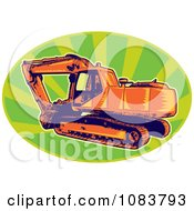Clipart Orange Digger Machine And Green Rays Royalty Free Vector Illustration by patrimonio