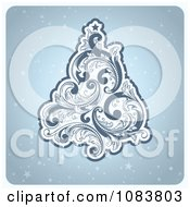 Clipart Retro Blue Flourish Christmas Tree Over Stars Royalty Free Vector Illustration