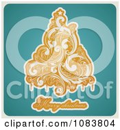 Clipart Retro Orange Flourish Tree Merry Christmas Text On Turquoise Royalty Free Vector Illustration by elena