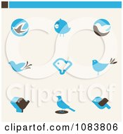 Clipart Blue Bird Icon Logos Royalty Free Vector Illustration