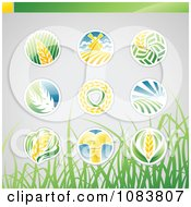 Clipart Round Wheat Icon Logos With Grass Royalty Free Vector Illustration by elena