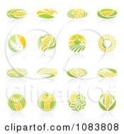 Clipart Round Wheat Icon Logos With Reflections Royalty Free Vector Illustration by elena