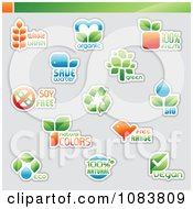 Clipart Ecology And Nature Icon Logos With Sample Text Royalty Free Vector Illustration