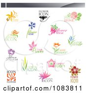 Clipart Floral Icon Logos Royalty Free Vector Illustration by elena