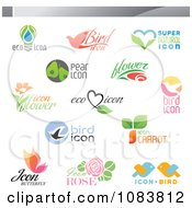 Clipart Ecology Nutrition And Nature Icon Logos Royalty Free Vector Illustration by elena