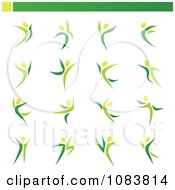 Clipart Green Dancing Or Leaping People Royalty Free Vector Illustration