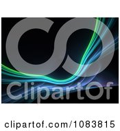 Clipart Black Background With Blue And Green Fractals Royalty Free Illustration