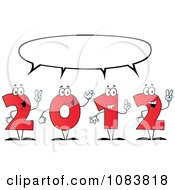 Clipart Red 2012 New Year Characters Under A Word Balloon Royalty Free Vector Illustration
