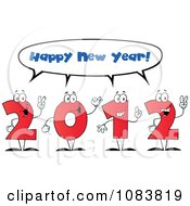 Clipart Red 2012 Characters Shouting Happy New Year Royalty Free Vector Illustration