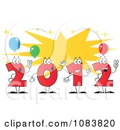 Clipart Red 2012 New Year Characters With A Burst And Party Balloons Royalty Free Vector Illustration