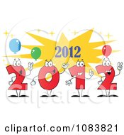 Clipart Red 2012 New Year Characters With Party Balloons Royalty Free Vector Illustration