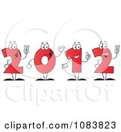 Clipart Red 2012 New Year Characters Holding Up Their Number In Fingers Royalty Free Vector Illustration
