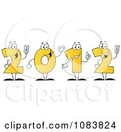 Clipart Yellow 2012 New Year Characters Holding Up Their Number In Fingers Royalty Free Vector Illustration
