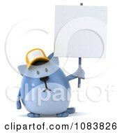 Clipart 3d Chubby Blue Cat Wearing A Hat With A Protest Sign 1 Royalty Free CGI Illustration