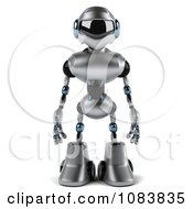 Clipart 3d Chrome Robot Facing Front Royalty Free CGI Illustration by Julos